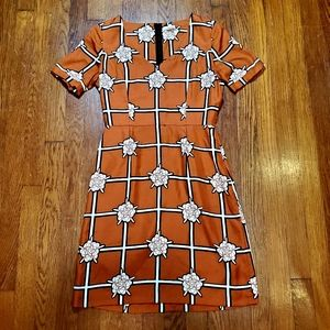 Fossil 100% Silk Orange Floral Dress